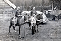 Edgar Harris' Ranch In The Caribou With Louise Harris Holding Lawries Horse And Lex Holding Cyrils Horse